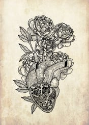 flower heart mechanic mashine surreal hippster cool illustration design travel tatoo blackwork fineliner organic human rose