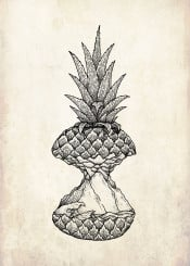 pinapple island illustration surreal ocean wave travel summer backpacker travelling backpacking love graphic cool hippster scenic fruit holiday surf surfer
