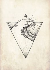 wave triangle ocean water summer travel backpacker backpacking holiday cool surf sufer graphic geometric artwork vintage