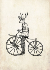 deer man cycle bycicle bicycle vintage hippster tatoo oldschool gentleman illustration illustrative blackwork dotwork old cool travel bike wheel graphic design drawing handdrawn handdrawing black white
