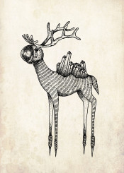 deer crystal astronaut outdoor climbing nature animal bambi love hippster illustration tatoo cool mountain surreal design graphic fineliner artwork blackwork space universe