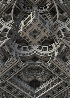 architecture symmetry mirrored surreal escher light shadow gray monochrome realism mandelbulb3d fractal