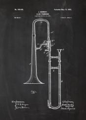 trombone slide patent drawing vintage concert orchestra music musician intrument instrumental play blackboard chalk blueprint flute