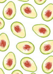 avocado fruit pattern spring summer food color ink paint nature