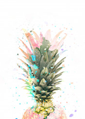 pineapple spring summer ink paint watercolor colorfull
