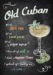 drink cocktail old cuban alcohol rum mint wine lime ice chalkboard recipe derpp