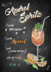 aperol spritz drink cocktail orange alcohol prosecco recipe chalkboard typography lettering derpp