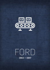 invention series ford assemblyline cars auto automate inventor minimalist icon symbol american manufacturing