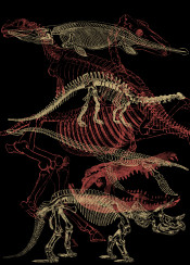 dino dinosuar dinosaur skeleton skull time timeless ink inking indie inspire line minimal detail fanfreak nature animal extint extinct cool vintage landscape illustration uniquie interior design