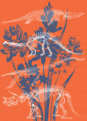 life death story dino dinosaur cool dinosuar vintage inspire theme orange colour colourful demon dead skull skeleton blue minimal detail animal wild fanfreak bloom spring abstract love live circle