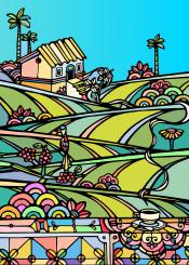 farm coffee nature colorful birds trees sky ninhol print landscape