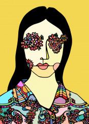 flowers eyes girl portrait womam shirt nature beauty colorful ninhol print