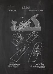 bench plane tool tools patent drawing wood blackboard chalk blueprint vintage workshop engineering