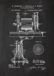 circular saw mills blade patent drawing vintage cut wood blackboard blackprint chalk blueprint mechanic workshop