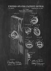 attachment door wood mechanic engineer engineering lock blackboard blueprint blackprint vintage workshop screwdriver hammer patent drawing