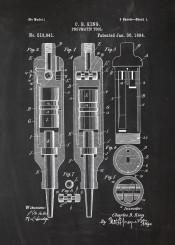 pneumatic tool patent drawing screwdriver screw machine mechanic workshop blackboard blueprint blackprint chalk vintage engineer engineering engine