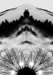 abstract demon cool vintage tree trees forest mountains man male lights light monster monsters mist story orignal inspire inspiration japan japanese black white monochrome cross robot series