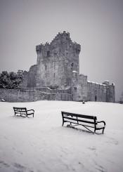black white greyscale castle ireland seats snow killarney fine photography fortress ruins old night