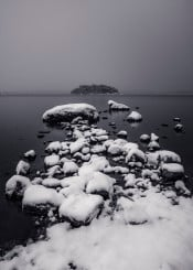 black white fine photography greyscale snow water beach rocks island night long exposure landscape cold ireland killarney