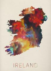 ireland watercolor map dublin irish green uk