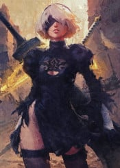 nier automata video games canvas paintings