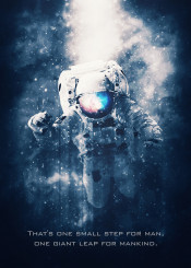 astronaut first step moon tagline