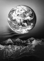 earth planet moon mountain sea ocean black white greyscale monochrome clouds million cool inspire inspirational made nature natural vintage original fanfreak japan japanese china popular