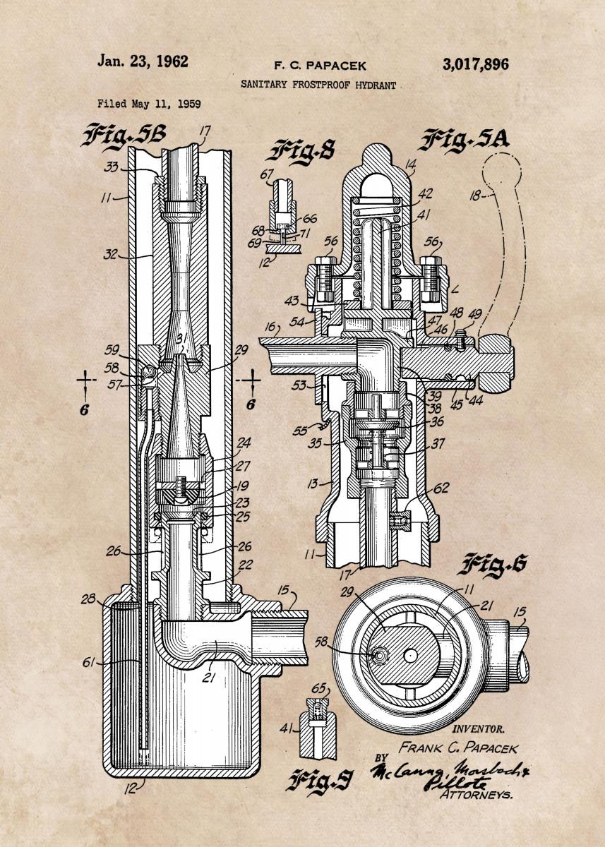 patent art Papacek Sanitary hydrant 1962 574606