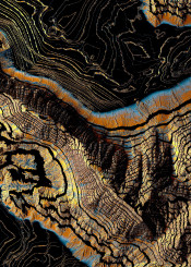 golden gold canyons nature topography geology abstract contemporary blue orange modern contrast digital 3d yellow black