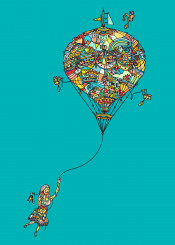 girl travel balloon sky fly fantasy dream child ninhol birds