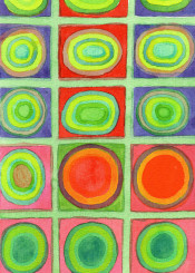 abstract color circles painting watercolor fine contemporary round shapes grid green orange fun