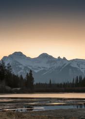 landscape mountain mountains lake sunset sunrise banff alberta canada west rockies scenic vermillion