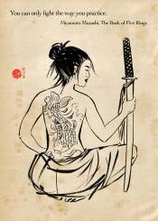 tattoo japan japanese sword katana bushido zen buddhist quotation onna
