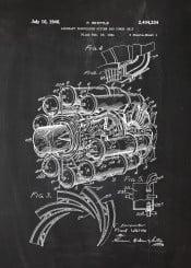 plane planes aircraft engine system power blackboard blueprint blackprint patent drawing chalk air boeing vintage