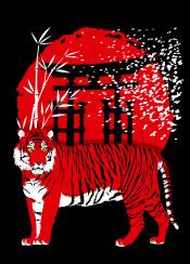 tigers tigre tiger torii temple japan japanese cat china nature cherry tree forest sun wild rising jungle bamboo predator oriental