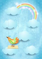sky day cloud cloudscape swing seesaw bird animal rainbow sunlight light fantasy surreal imagination daydream dream dreamy magical suggestive illustration digital graphic