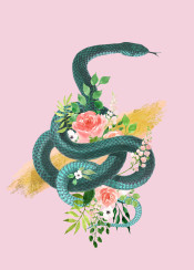 snake pink gold flowers floral drawing green