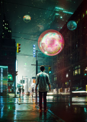 digital digitalart digitalcollage illustration design graphicdesign surreal surrealism scifi scifiart collage photo photoshop photomanipulation street night orbs