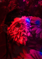 man woman gay love flowers pink red blue paint painting photography passion emotion dream dreamer brain thoughts magic