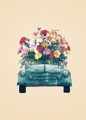 retro car flowers vintage blue