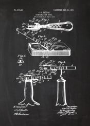 combination tool patent drawing can opener canopener blackboard blackprint blueprint vintage open cans tools