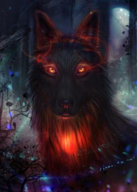 wolf spirit magical magic night moon red dream