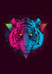 80s 1980 retro neon rad synthwave tiger animals roar splatter