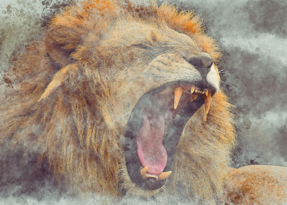 Watercolor Lion 1
