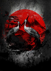 crane japan japanese red crimson fanfreak ink inking china animal nature cool inspire traditional paint painting fan mountain splatter dark black white minimal detail aia asian