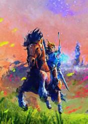 zelda link horse video games canvas paintings