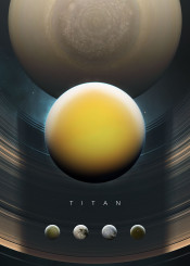 space cosmos universe solar system scifi science fiction planet moon series future astronomy stars nature minimalism minimalistic saturn gas giant ring titan