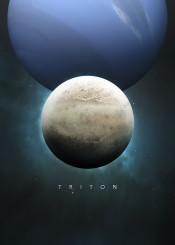 space cosmos universe solar system scifi science fiction planet moon series future astronomy stars nature minimalism minimalistic neptune gas giant blue triton