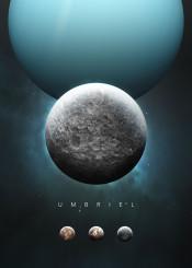 space cosmos universe solar system scifi science fiction planet moon series future astronomy stars nature minimalism minimalistic uranus gas giant umbriel blue
