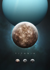 space cosmos universe solar system scifi science fiction planet moon series future astronomy stars nature minimalism minimalistic uranus gas giant titania